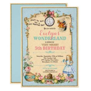 Alice in Wonderland birthday invitaion blue Invitation
