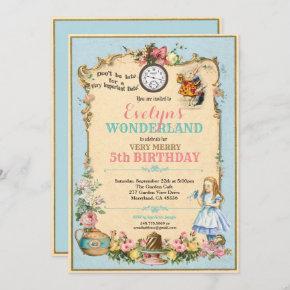 Alice in Wonderland birthday invitaion blue Invitation