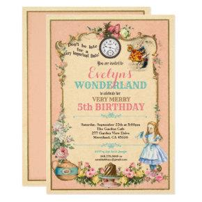 Alice in Wonderland birthday invitaion pink Invitation