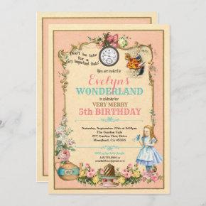 Alice in Wonderland birthday invitaion pink Invitation