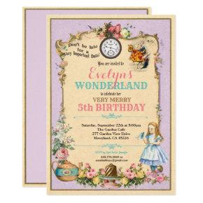 Alice in Wonderland birthday invitaion purple Invitations