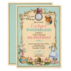 Alice in Wonderland birthday invitaion turquoise Invitation