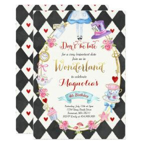 Alice In Wonderland Birthday Invitations Tea Party