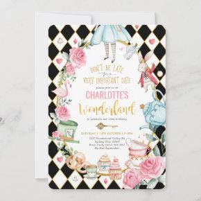 Alice in Wonderland Birthday Mad Hatter Tea Party Invitation