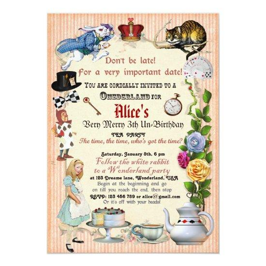 Alice In Wonderland Birthday Party Invitation Candied Clouds
