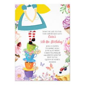 Alice in Wonderland Birthday Party Spring Invite