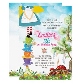 Alice in Wonderland Birthday Party Watercolor Invitation