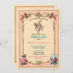 Alice in Wonderland birthday tea party invitation