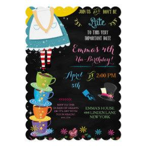 Alice in Wonderland Chalkboard Birthday Invitations