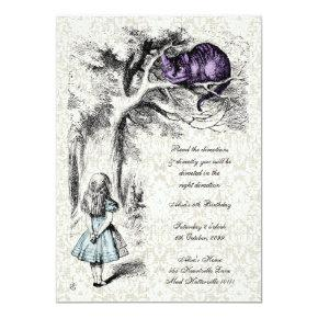 Alice in Wonderland Cheshire Tea Party Birthday Invitations