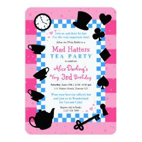 Alice in Wonderland Mad Hatter Birthday Invitations