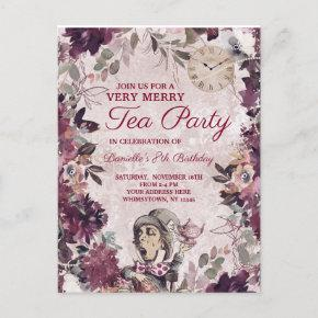 Alice in Wonderland Mad Hatter Birthday Tea Party Invitation Post