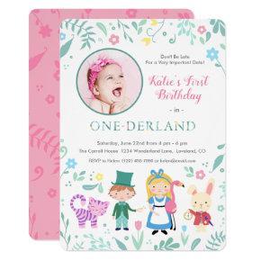 Alice in Wonderland | One-derland first Birthday Invitation