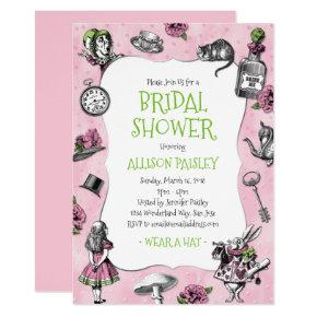 Alice in Wonderland Pink and Green Bridal Shower Card