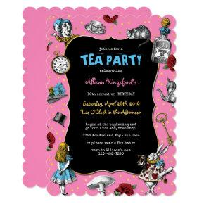 Alice in Wonderland Pink Tea Party Invitation