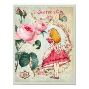 Alice in Wonderland Roses Collage Sweet 16 Invitations
