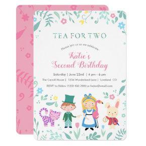 Alice in Wonderland Tea for Two Second Birthday Invitation