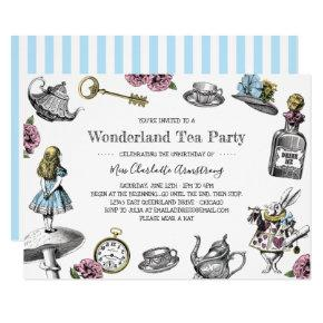 Alice in Wonderland Tea Party Blue Stripes Invitations