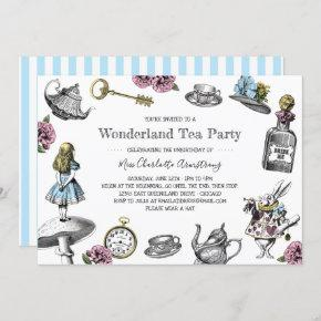 Alice in Wonderland Tea Party Blue Stripes Invitation