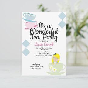 Alice in Wonderland TEA PARTY pink birthday Invitation