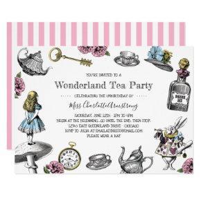 Alice in Wonderland Tea Party Stripes Card