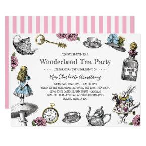 Alice in Wonderland Tea Party Stripes Invitation