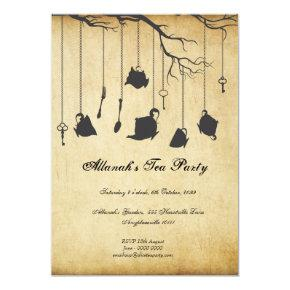 Alice in Wonderland Unbirthday Birthday Tea Party Invitation