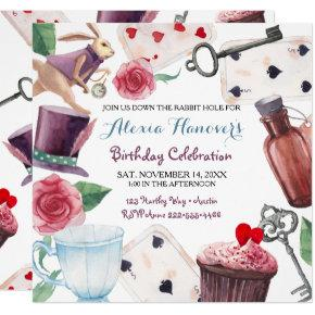 Alice in Wonderland Watercolor Hand Painted Rabbit Invitations