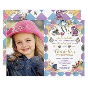 Alice in Wonderland Whimsical Birthday Tea Photo Invitation