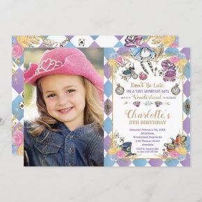 Alice in Wonderland Whimsical Birthday Tea Photo Invitation