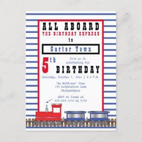 All Aboard 5th Birthday Express Choo Choo Train Invitation Post