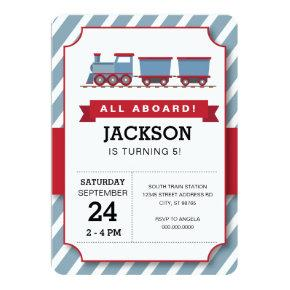 ALL ABOARD red blue train birthday party Invitation