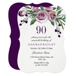 All Ages Elegant Purple Rose 90th Birthday Invite