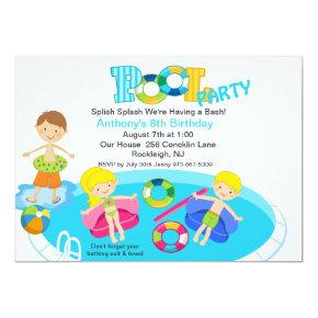 All Kids Blue Pool Party Birthday Invitations