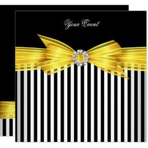 All Occasion Yellow Black White Stripe Party Invitations