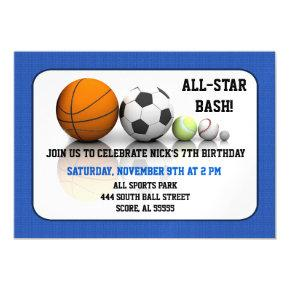 All Sports Blue Custom Magnetic Invitation