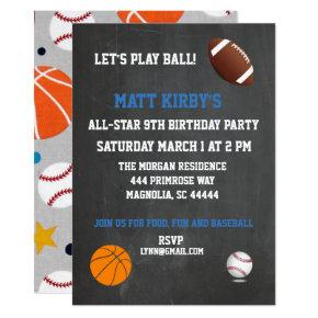 All Sports Chalkboard Birthday Party Invitation