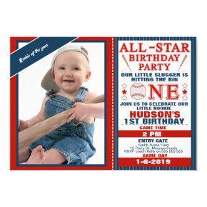 All Star Or Baseball 1st Birthday Invitation