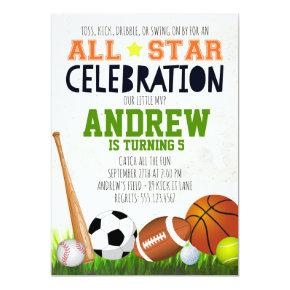 All Star Sports Birthday Invitation