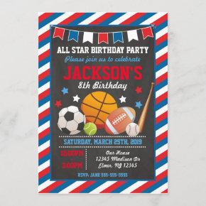 All Star Sports Birthday Invitation for Boys