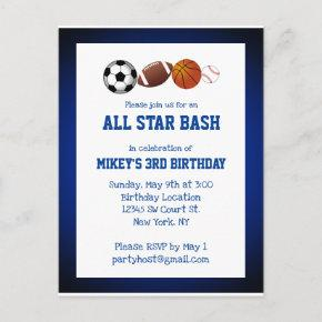 All Star Sports Birthday PostInvitations Invitation