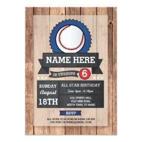 All Star Sports Party Baseball Birthday Invite