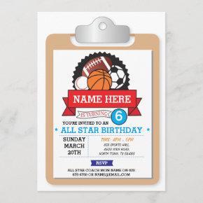 All Star Sports Party Football USA Birthday Invite