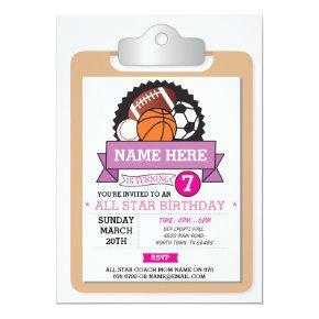 All Star Sports Party Pink Girls Birthday Invite