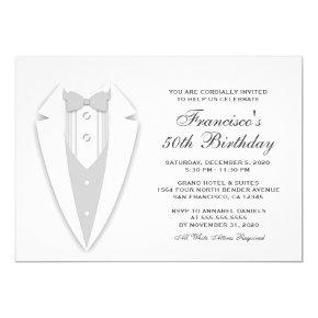 All White 50th Birthday Party Invitation