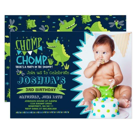 Alligator Birthday Invitations Crocodile Party Candied Clouds