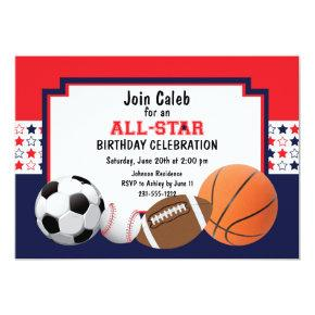 Allstar Birthday Party - Sports Invitations