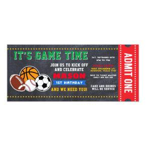 Allstar Sport Ticket Birthday Invitation