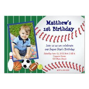 Allstar Sports Baseball Birthday Invitations