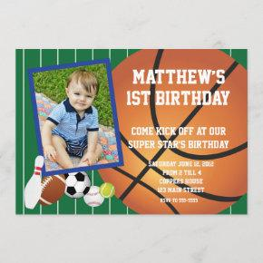 Allstar sports Basketball Birthday Invitation